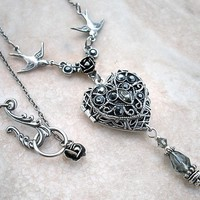 Silver Heart Locket Necklace by Aranwen on Etsy
