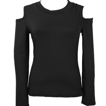 Sexy Fashion Long Sleeve Off Shoulder Women Tops Casual Slim Fit Blouse