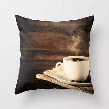 Happiness in a Cup (Porcelain coffee cup over wooden background) Throw Pillow by Andrea Caroline