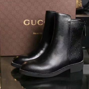 GUCCI Trending Women Fashion Print black leather Ankle zipper boot sneaker Shoes Boots GUCCI GG Flat Heel Best Quality