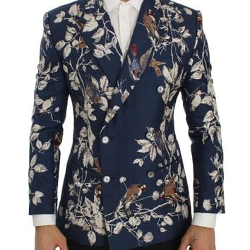 Blue Bird Print Silk Slim Fit Blazer Jacket