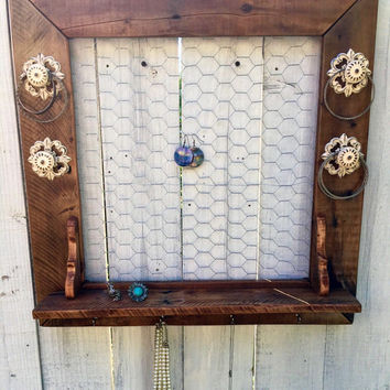 Wall Jewelry Holder - Wall Jewelry Organizer - Christmas Gifts For Wife - Rustic Jewelry Display - Wooden Jewelry Holder - Girlfriend Gift