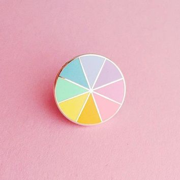 Pastel Colourwheel Enamel Pin Badge   Pastel Rainbow Lapel Pin