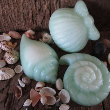 "Set of Three ""Day at the Beach"" Seashell Soaps"