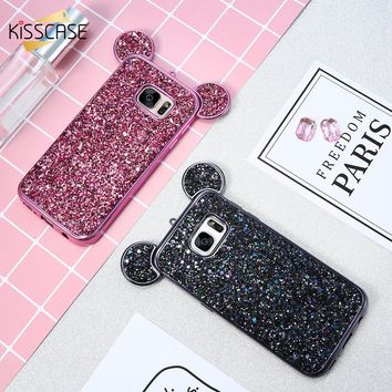 KISSCASE 3D Mickey Mouse Phone Cases For Samsung Galaxy S8 S7 Edge S6 Coque  Glitter Silicon 9fb795fcc2