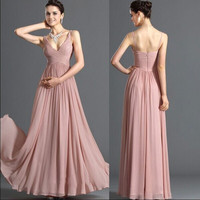 Pink Ruched V-Neck High Waisted Pleated Maxi Dress