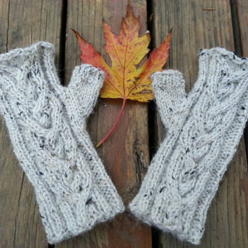 fingerless gloves Outlander inspired fingerless mitts with celtic cable hand knit in natural tweed merino alpaca blend, ready to ship