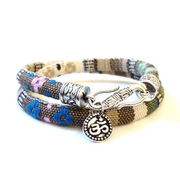 Wrap Bracelet - Yoga - Jewelry - Om Bracelet - Gifts For Her - Christmas - Namaste Bracelet - Boho Chic - Fabric - Bohemian Earth Designs