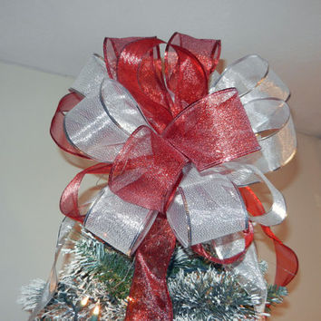Large Sheer Red and Silver Ribbon Christmas Tree topper bow 6 ft. tails and 12 matching ornament bows