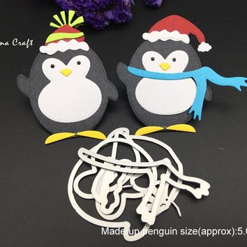 METAL CUTTING DIES die cut penguin new year Christmas Santa build up collage Scrapbook card PAPER CRAFT embossing stencils punch