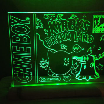 kirbys dream land game boy retro nintendo   light up room sign