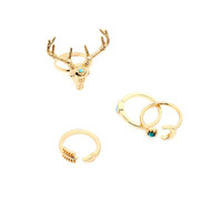 Gold Deer Head Ring Set 4PCS