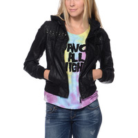Glamour Kills Young Wild & Free Black Faux Leather Jacket at Zumiez : PDP