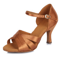 Size31-42 Women's Latin Dance Shoes Browm Satin Ballroom Tango Dancing Shoes For Girls Salsa Party Shoes For Dance Ladies