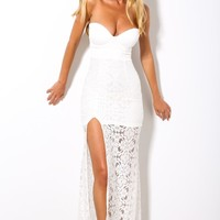 HelloMolly | Fifty Shades Of Grey Maxi White - Strapless white maxi dress with lace detailing