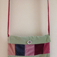 Velvet Striped Shoulder Bag