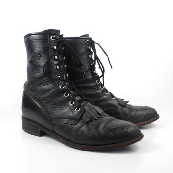Roper Boots Vintage 1980s Justin Leather  Black Granny Lace up Packer men's size 8 1/2