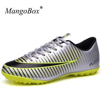 MangoBox Original Football Shoes Purple Pink Soccer Cleats Kids High Quality Soccer Trainer Cheap Football Shoes