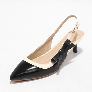 Sling Back Bow Knot Pointed Toe Low Heels Pump
