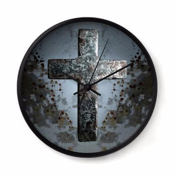Rustic Cross Wall Clock in gray and rust