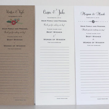 Wedding Words of Wisdom Cards - Best Wishes for the Newlyweds - Personalized