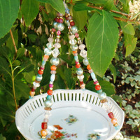 Floral Ceramic Dish Bird Feeder, Hanging Beaded Garden Art, Upcycled Vintage Glass, Repurposed Recycled Art, Hanging Planter, Flower Basket