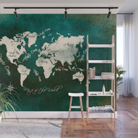 world map 146 green #worldmap #map Metal Print by jbjart
