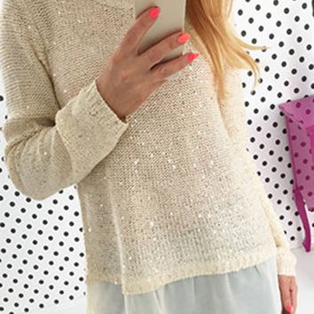 Long Sleeve Chiffon Sequined Sweater