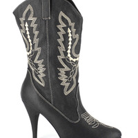 Black Embroidered Ankle Cowgirl Boots