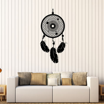 Vinyl Wall Decal Dreamcatcher Dreams Feathers Bedroom Decorating Stickers Unique Gift (309ig)