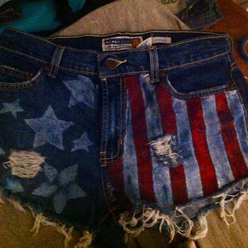 High waisted USA flag shorts