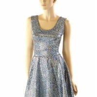 Silver on Black Shattered Glass Holographic Fit and Flare Sleeveless Tank Skater Dress