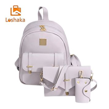 Loshaka Fashion Women Composite Bag Leather Backpack 3 Sets Bag School Backpacks For Teenage Girls Black Bags  Mochila