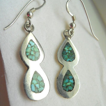 Vintage Mexican Sterling Silver Inlay Turquoise Dangle Earrings