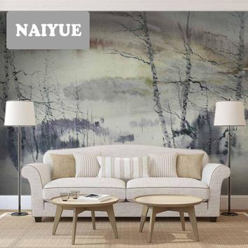 Ink and ink Impressionist hand-painted Chinese gray mural painting bedroom living room background wall wallpaper wallstickers