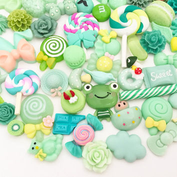 Green Assorted Cabochon Mix (10 pcs / 30 pcs by Random) Kawaii Cabochons Resin Polymer Clay Cell Phone Deco