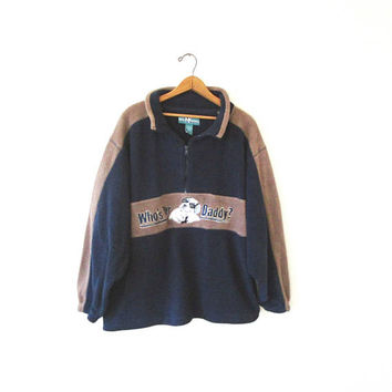 Vintage 90s BIG DOGS Who's Yer DADDY Fuzzy Fleece Embroidered Zip Sportswear Pullover Sz 1X/2X