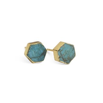 Turquoise Hex Stone Earrings