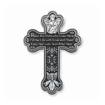 Bless this Child Girl Pewter Finish Cross