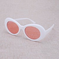 Vazrobe Kurt Cobain Glasses White/red Oval Sunglasses Men Women Steampunk Goggles Vintage Retro Celebrity Hip Hop Rock Man Clear