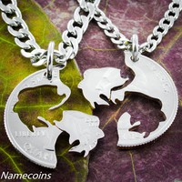 Bass Fishing Couples necklaces, Interlocking hand cut coin