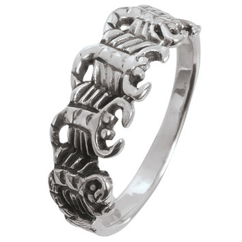 Scorpion Circle Sterling Silver Ring