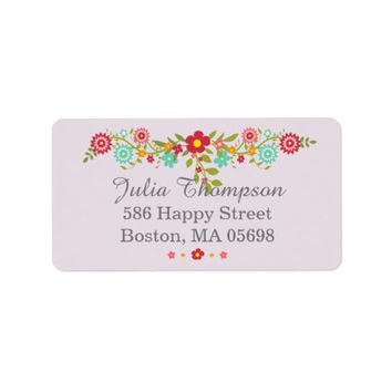 Floral Purple Address Labels