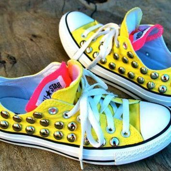 DCCKHD9 Sunshine Studded Converse - Yellow/Pink Double Tongue - Rare