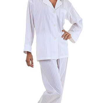 Pajamas - 3D Stripe White Cotton Sateen by Bedhead (Small-2X)