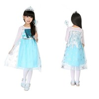 CRAZY POMELO Snow Queen Party Dress Costume With Dress-up Acessories