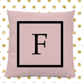 Initial Pillow - Letter Pillow - Pillow with Letter F - Monogrammed Pillow - Custom Throw Pillow - Pink Letter Pillow