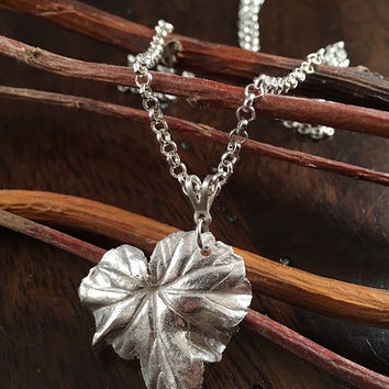 Nature Inspired Necklace - Silver Clay Metal Necklace - Silver Leaf Pendant - Silver Clay Metal Necklace - Metal Clay Jewelry -Handmade