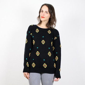 Vintage Southwestern Sweater Black Embroidered Jumper Navajo Knit Pullover Black Yellow Teal South Western Cosby Sweater Boho Cozy M Medium