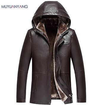 Winter Thicken Faux Fur Hat Detachable Men' s Leather Jackets Casual PU Coats Men Faux Leather